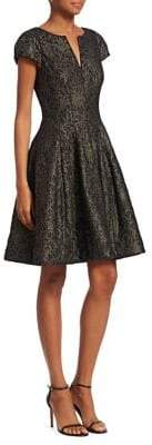 Halston Metallic Fit & Flare Dress