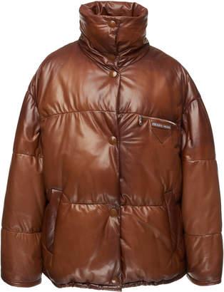 Prada Leather Puffer Coat