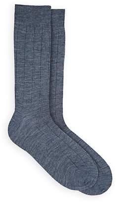 Barneys New York Men's Drop-Stitch-Striped Stretch-Wool Mid-Calf Socks