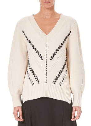 Carolina Herrera V-Neck Emboidered Cashmere Sweater