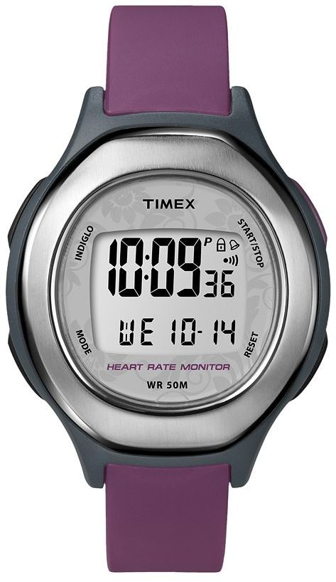 Timex health touch black & purple resin digital heart rate monitor watch - t5k599kz - women