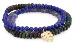 Sydney Evan Semi-Precious Multi-Stone and 14K Gold Medium Monstera Beaded Wrap Bracelet