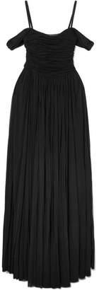 Alexander McQueen Ruched Mesh Gown - Black