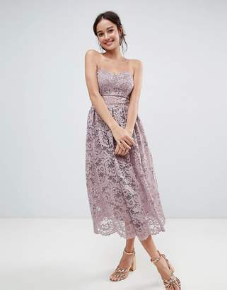 Asos Design DESIGN bandeau lace midi prom dress