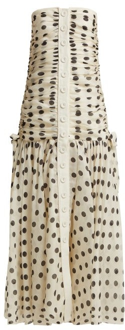 Corsage Ruched Polka Dot Linen Blend Dress - Womens - Black White