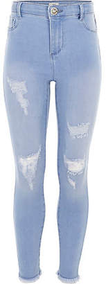 River Island Girls blue Molly ripped high waisted jeggings