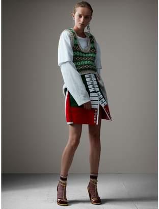 Burberry Shearling Trim Wool Ceremonial Skirt