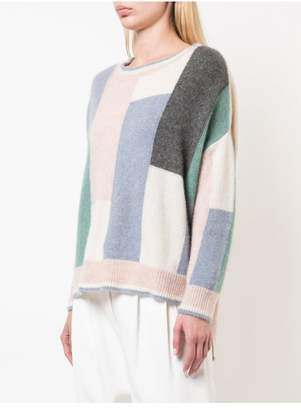 ADAM by Adam Lippes Brushed Cashmere Colorblock Crewneck Sweater
