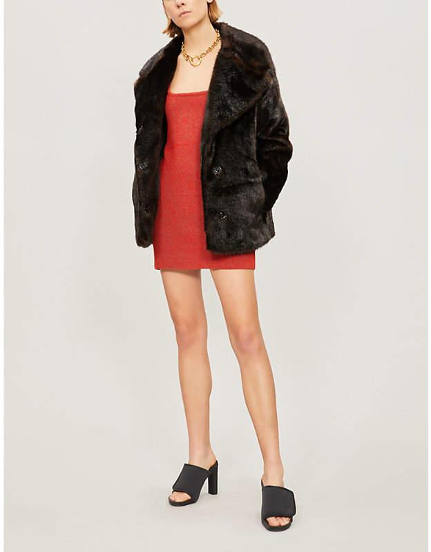 KENDALL & KYLIE Notch-lapel faux-fur coat