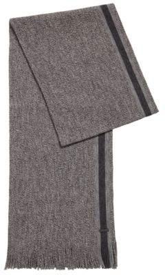 BOSS Hugo Virgin-wool scarf engineered stripe One Size Black