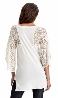 Free People Lace Sleeve Rock Me Graphic Tee