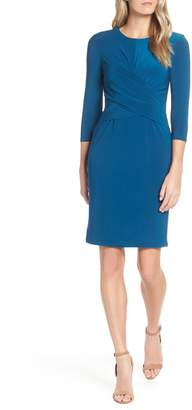 Eliza J Ruched Jersey Sheath Dress