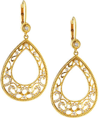 Penny Preville Large 18k Gold Lacy Open-Pear Diamond Drop Earrings