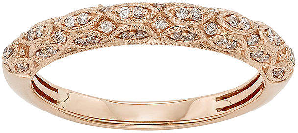 JCPenney MODERN BRIDE 1/5 CT. T.W. Certified Diamond 14K Rose Gold Wedding Band