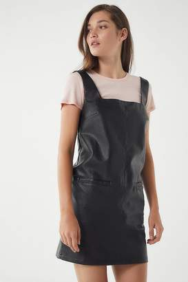 Urban Outfitters Faux Leather Square-Neck Pinafore Dress