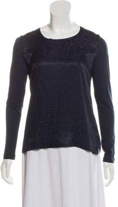 Gerard Darel Long Sleeve Leopard Print Top
