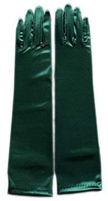 "MLQM Womens 15"" Bridal Gloves Below-The-Elbow Length Stretch Satin for Wedding"