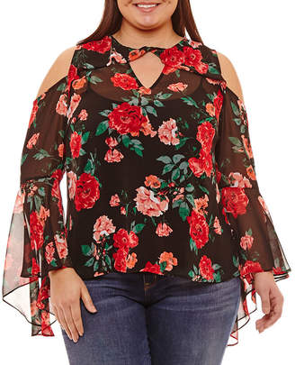 BELLE + SKY Cold Shoulder Ruffle Sleeve Floral Blouse - Plus