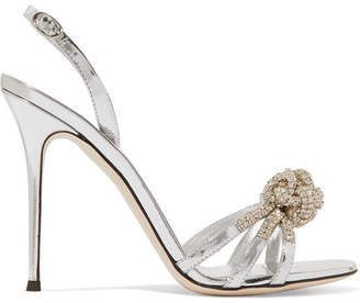 Giuseppe Zanotti Mistico Crystal-embellished Metallic Leather Sandals - Silver