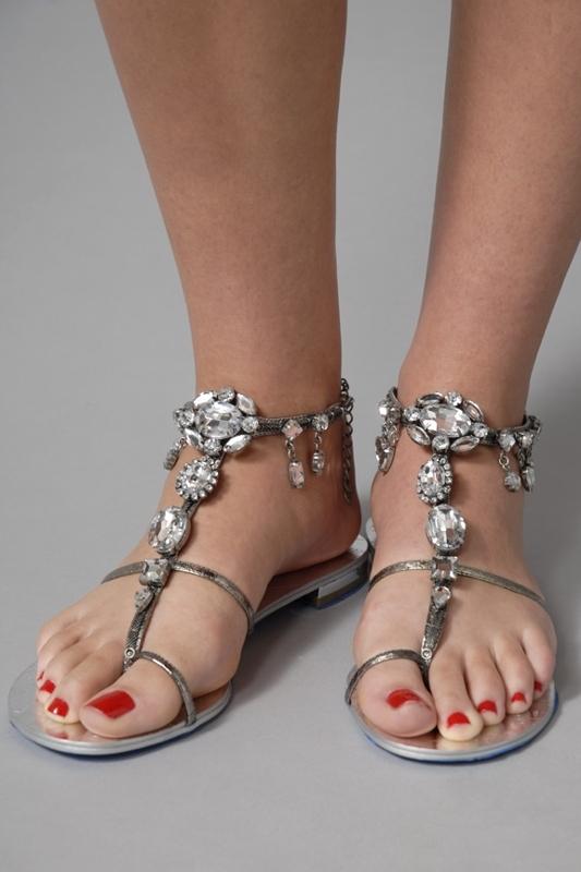 Sam Edelman Annie Sandals in Pewter Metallic Belly