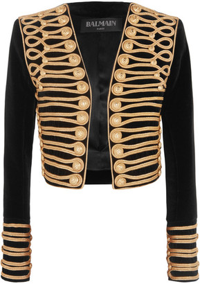 Balmain - Cropped Embellished Velvet Jacket - Black $7,290 thestylecure.com
