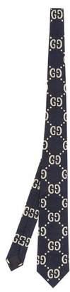 Gucci Gg Supreme Cotton Tie - Mens - Navy Multi