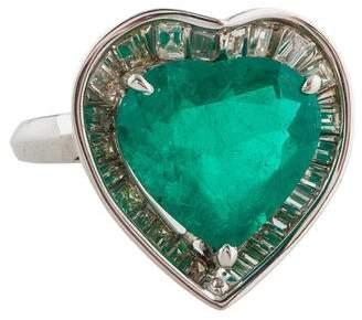 Ring Platinum Diamond & Emerald Cocktail