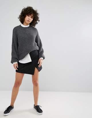 Weekday Pinstripe Mini Skirt