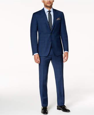 Tallia Men's Slim-Fit Stretch Navy Plaid Suit