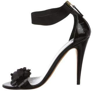 Blumarine Patent Leather Floral Sandals