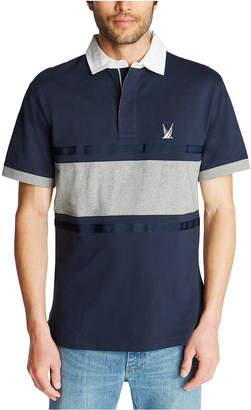 Nautica Men Blue Sail Classic-Fit Colorblocked Stripe Zip-Up Polo Shirt