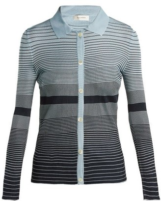 Wales Bonner Striped Button Down Knit Top - Womens - Navy Multi