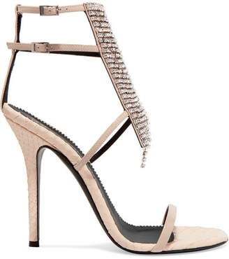 Giuseppe Zanotti Alien Crystal-embellished Python-effect And Patent-leather Sandals - Beige