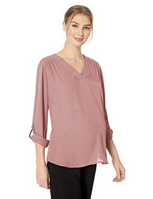 71ed1f9cae782 Motherhood Maternity Women's Maternity Drop Shoulder Split Neck Blouse