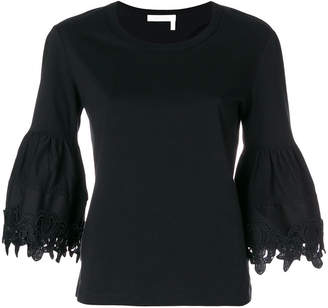 See by Chloe open embroidery bell sleeve T-shirt