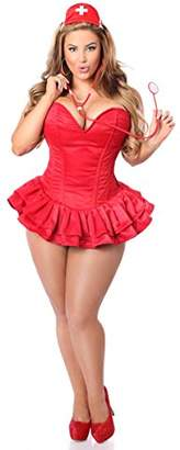 DaisyCorsets Women's Top Drawer 3 Pc Glitter Nurse Corset Dress Costume
