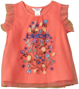 Bebe Girls' Embroidered Tulle Top