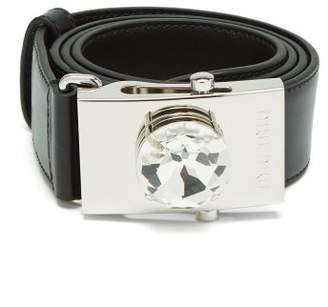 Miu Miu Crystal Buckle Leather Belt - Womens - Black