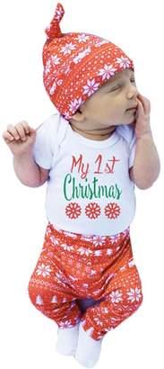FEITONG 4Pcs Baby Boy's Christmas Tops Romper+ Pants+ Hat+ Hairband Set