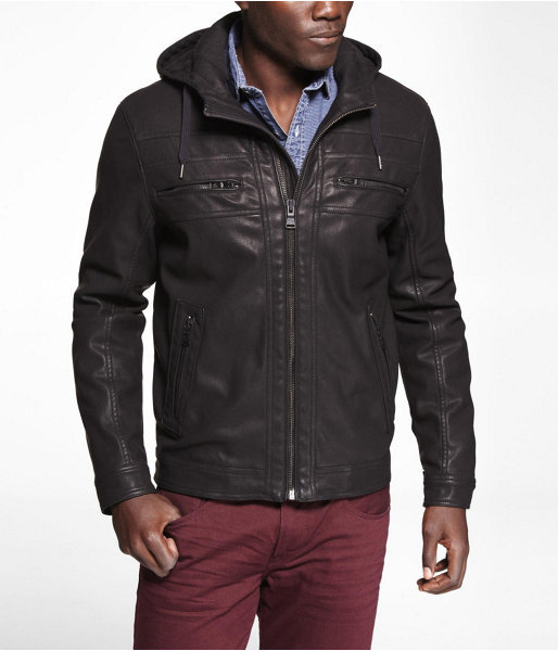Express (Minus The) Leather Hooded Jacket