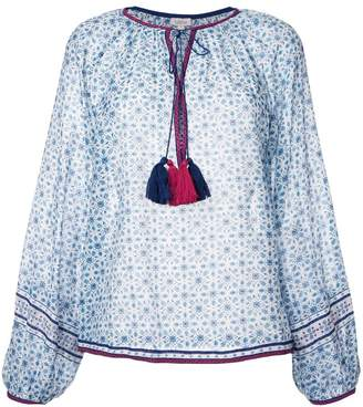 Talitha geometric print tassel blouse