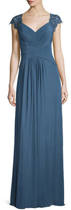 La Femme Cap-Sleeve Ruched Chiffon Gown $478 thestylecure.com