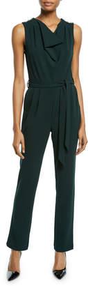 Neiman Marcus Sleeveless Crepe Jumpsuit W/ Pearl Epaulettes