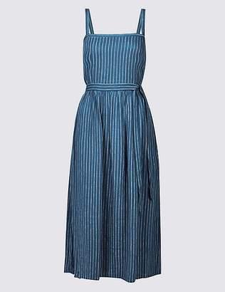 Marks and Spencer Linen Blend Striped Skater Midi Dress