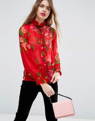 Asos Design Floaty Blouse in Oversized Red Floral