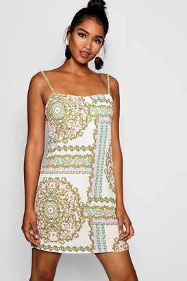boohoo Pastel Chain Print Square Neck Cami Dress