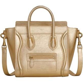 Celine Nano Luggage Gold Leather Handbags
