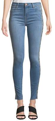 J Brand Maria High-Rise Skinny Jeans with Snake-Print Panels
