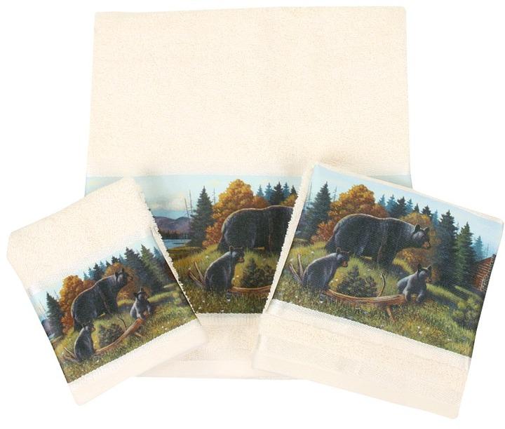 Avanti Black Bear Lodge 3-Piece Towel Set
