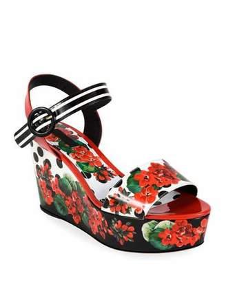 Dolce & Gabbana Geranio Platform Wedge Sandals